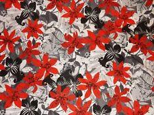 tissu voile de coton fleurs rouge/gris 50x140cm
