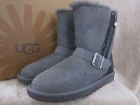 UGG Australia Blaise Glitter Silver Gray Moto Leather Boots Shoes US 8 EU 39 NWB