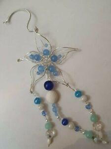Blue Aquamarine Flower Suncatcher Sun Catcher Window Wall Decor Mobile Wind Chim