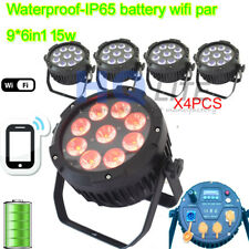 Waterproof Par Light 9x15w RGBWA+UV 6in1 LED Battery Wireless iOS Android par64