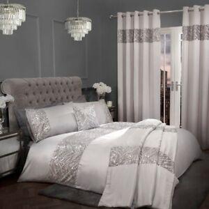 Sparkle Sequin Silver Luxury Duvet & Pillowcase Set Curtains Cushion Bedding Set