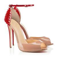 Nightclub Women Ankle Strap Peep Toe Shoes Pump High Heel Rivet Stiletto Sandals
