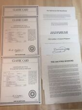 13 Vintage Danbury Mint Classic Car Certificates Of Title On Replicas 1989