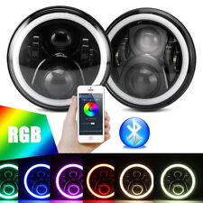 """Pair 7"""" RGB Led Black Halo Headlights Lamps E9 110 90 For Land Rover Defender"""