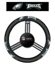 Philadelphia Eagles Black Vinyl Massage Grip Steering Wheel Cover