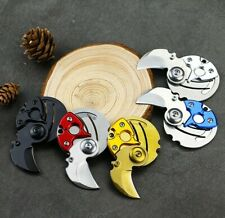 Pocket Round folding small knife Camp tactical mini steel blade w Keychain Coin