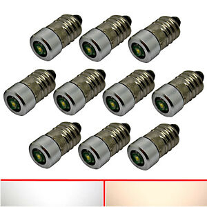 1X 10X E10 Cree LED - 6V 12V 24V - Screw Mount Bulb Lamp Bulbs White Warm