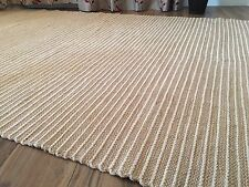 ❤️HAND LOOMED COTTON JUTE INDIAN 4012 RUG 90cm x 150cm BEIGE CREAM PIN STRIPES
