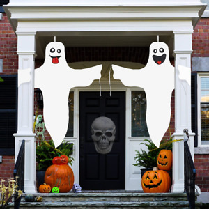 Aitok Halloween Ghost Hanging Decoration, 2 Pieces 47 Inch Ghost Windsock, White