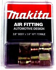 "Makita 3/8"" body x 1/4"" NPT F-AUTO Air Fitting YY311012-A 2pk *Made In The USA*"