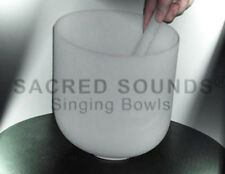 CRYSTAL SINGING BOWL 10 INCH SACRAL CHAKRA NOTE D FROSTED QUARTZ FUSION BOWLS
