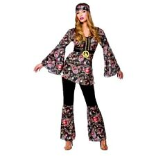Adult PEACE LOVIN' HIPPIE Ladies Fancy Dress 1960 60s Hippy Costume UK Size 6-28