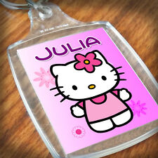 Personalised HELLO KITTY KEYRING, Lunch Bag, daughter sister niece Gift