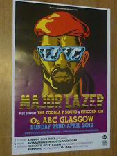 Major Lazer - Glasgow april 2012 concert tour gig poster