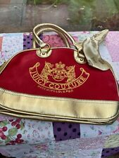Vtg 90s Y2k Juicy Couture Red Velvet Small Gold Bowling Bag Scarf