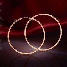 Kreolen Ohrringe  32 mm russisches Rotgold 585 rose Gold diamantiert Neu