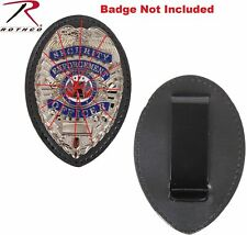 Black Leather Clip On Law Enforcement SHIELD type BADGE HOLDER ROTHCO 1131