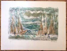 Hermine David lithographie signée numérotée bateaux mer marins pêcheurs pêche