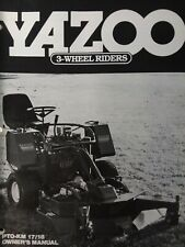 Yazoo Commercial 3-Wheel Rider Lawn Mower Tractor PTO-KM 18 Owner & Parts Manual