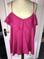 Bnwt New River Island Pink Ladies Summer Vest Layered Top Size 10 Frill