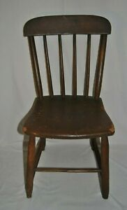 Antique Child's Early 19th Century American Windsor Rod Back Chair As Is
