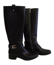 Michael Kors Womens Charm Riding Boots Dark Black Leather Boots 6.5 M