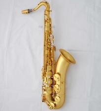 Professional Brushed Matte Gold Tenor Sax Saxophone Hand Engraving Bell new Case