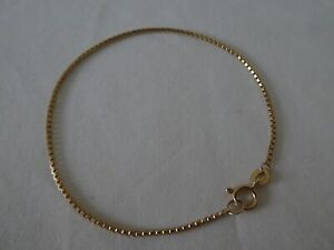 """Vintage 9CT Gold Square Link Bracelet 7"""" Long"""