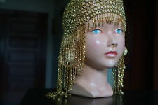 Gold Tone Beaded Stretchy Belly Dance Princess Tiara Crown Head Wear Band Dress