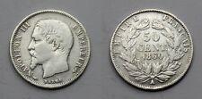 FRANCIA FRANCE 1860 A 50 CENT NAPOLEON III MONEDA PLATA MBC