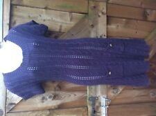 WHITE STUFF LADIES NAVY BLUE CABLE JUMPER DRESS KNEE LENGTH SHORT SLEEVED 10 UK