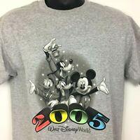 Walt Disney World T Shirt Mens Medium Gray Mickey Donald Goofy Pluto 2005