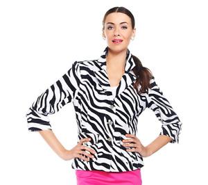 Joan Rivers Rangers Zebra Print Jacket Size L KHAKI/WHITE Color