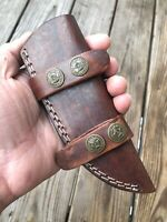 CUSTOM Double Stitch HAND MADE Pure LEATHER SHEATH FOR FIXED BLADE KNIFE