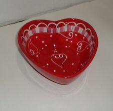 Valentine's Hausenware Libby Wilkie Heart Candy Dish Bowl Red White Pink