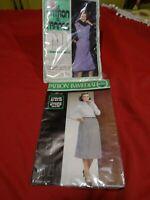 lot  2patrons  vintage 40/44/48 robe femme  chasuble et   jupe droite = poches