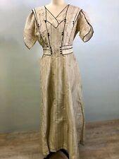 Antique Edwardian Ivory & Black Silk Taffeta Titanic Dress for Pattern or Study