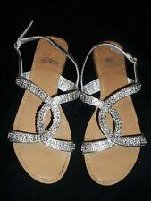 Sheikh Silver Rhinestone Flat Shoes Sandals Size 7 7M