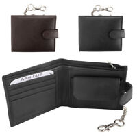 Mens Soft Genuine Nappa Leather Wallet with Safety Chain - RFID Protected
