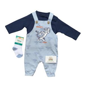 Disney Baby Boys Dungarees Socks Tigger Outfit Ex Nutmeg Blue Set