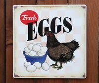 Fresh Eggs Tin Sign Country Kitchen Chicken Rooster Farm Breakfast D066