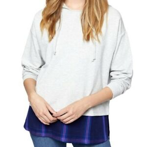 NEW! Sanctuary Plaid Layered Grey Hoodie Oversized Small Comfy Purple Grey CUTE!