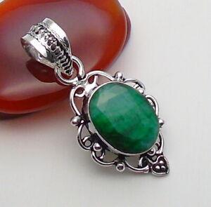 Emerald Gemstone Jewellery Pendant Ethnic 925 Ethnic Silver OVERLAY