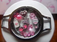 It's A BABY GIRL Floating Charms Living Memory Owl Locket Pink 14p Rattle Hands