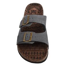 $60 Muk Luks Parker Suede Leather Mens Sandals Slip On Duo Strapped Slip On