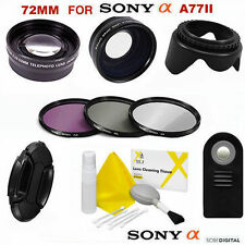 WIDE ANGLE LENS +ZOOM + REMOTE + FILTERS KIT FOR SONY ALPHA A77II W 16-50MM LENS