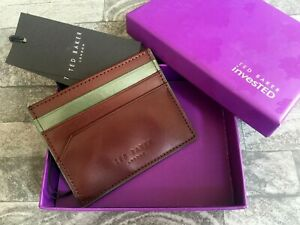TED BAKER CHOCOLATE BROWN LEATHER CARD HOLDER WITH CONTRAST TRIM BNIB