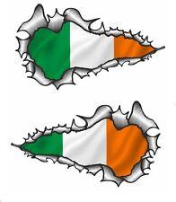 LONG Handed Pair Ripped Open Torn Metal Ireland Irish IRL Flag vinyl car sticker