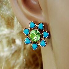 Boucle d`Oreille Clous Puces Fleur Bleu Vert  Super Joli Belle Couleur NN 3