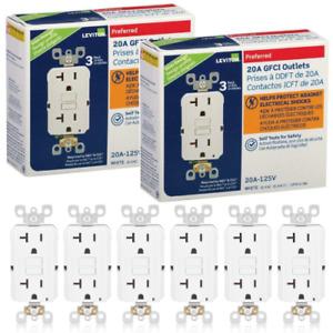 6 Pack Leviton SmartlockPro GFNT2-3W GFCI Self Test Outlet 20A 125V White